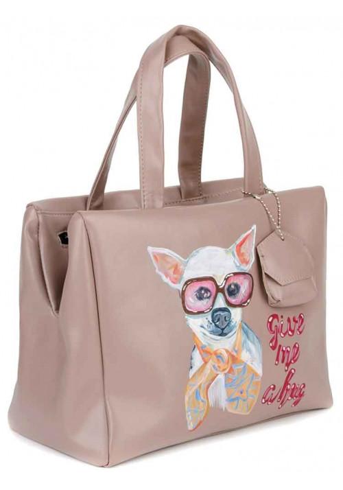 Женская сумка с собачкой BBAG VERONA LATTE