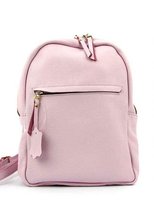Летний розовый кожаный женский рюкзак Viladi 060