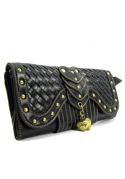Черный плетеный женский клатч Mango 1046