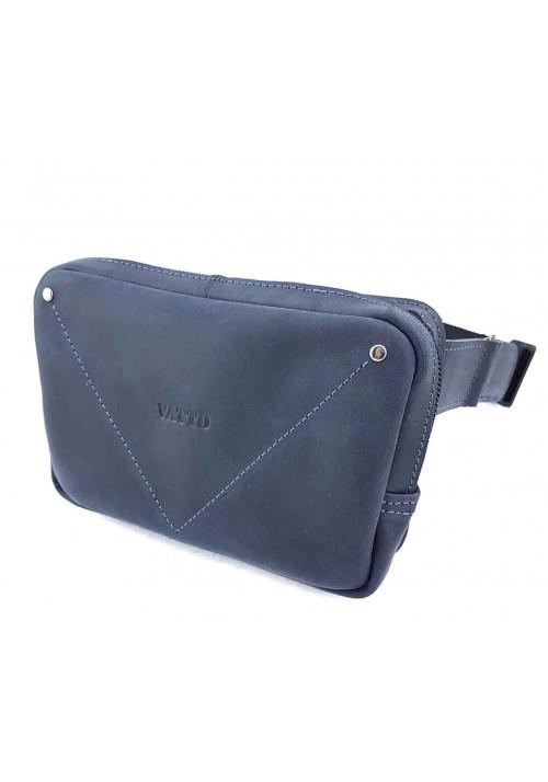 Синяя винтажная мужская сумка на пояс VATTO