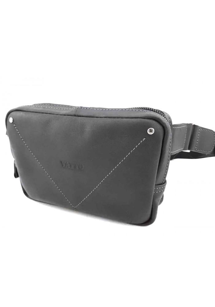 Черная винтажная мужская сумка на пояс VATTO