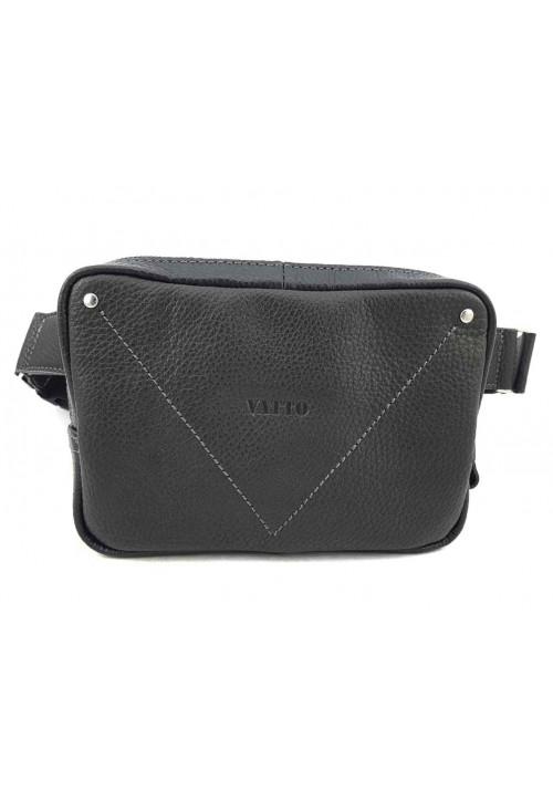 Мужская сумка на пояс из черной натуральной кожи VATTO