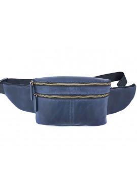 Фото Мужская поясная сумка из винтажной синей кожи VATTO