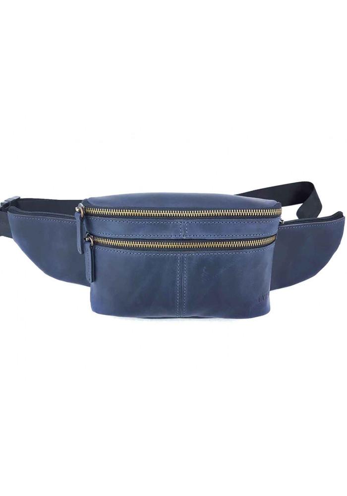 Мужская поясная сумка из винтажной синей кожи VATTO