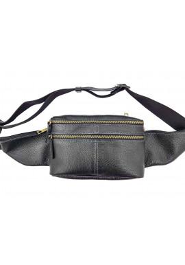 Фото Мужская поясная сумка из черной кожи VATTO