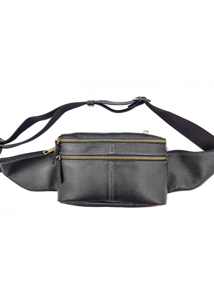 Мужская поясная сумка из черной кожи VATTO