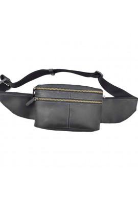 Фото Винтажная мужская поясная сумка из черной кожи VATTO