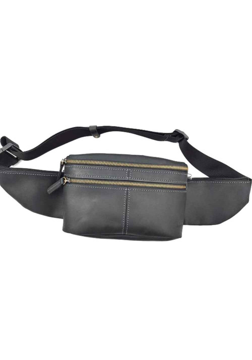 Винтажная мужская поясная сумка из черной кожи VATTO