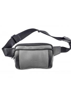 Фото Серая кожаная мужская поясная сумка VATTO