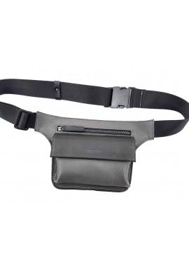 Фото Черная фактурная кожаная мужская поясная сумка VATTO