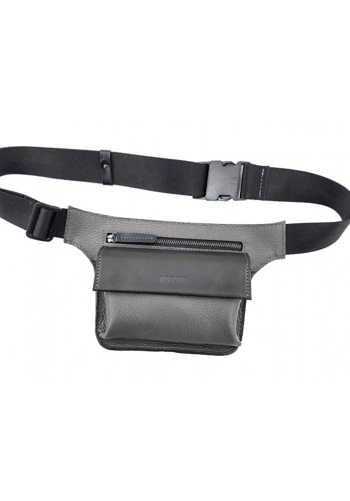 Черная фактурная кожаная мужская поясная сумка VATTO