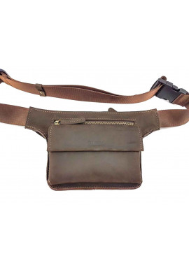 Фото Коричневая кожаная мужская поясная сумка VATTO