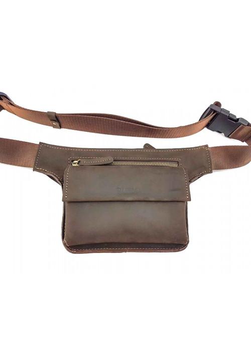 Коричневая кожаная мужская поясная сумка VATTO