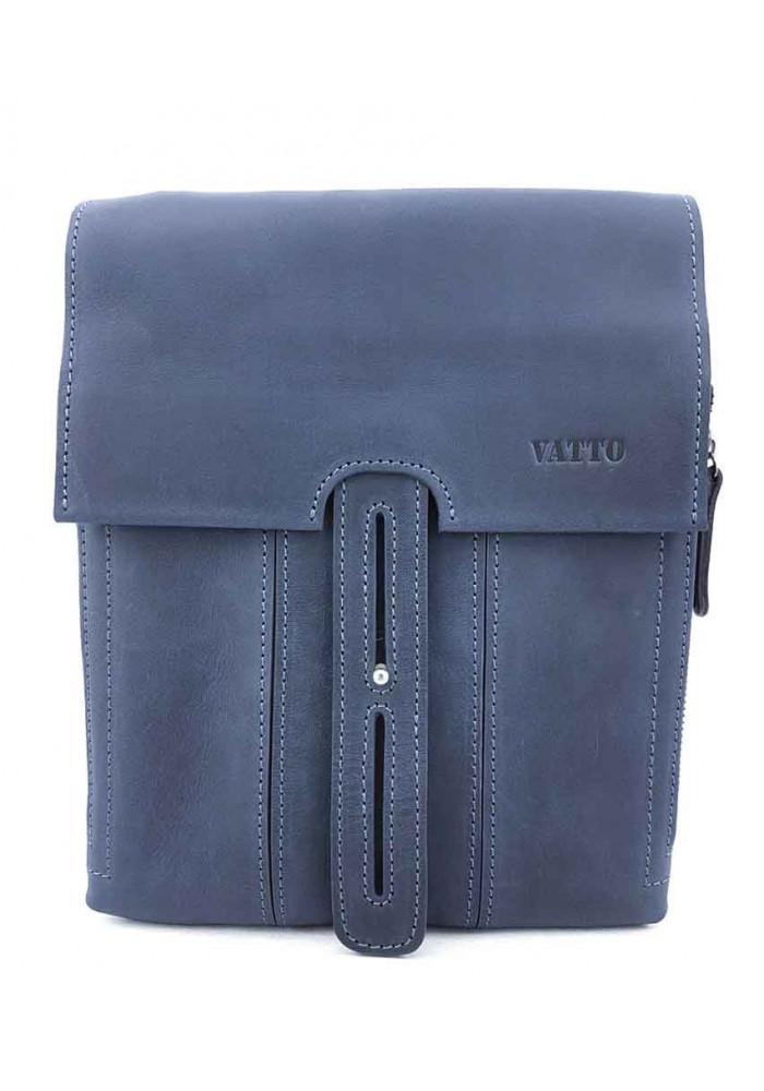 Кожаная синяя мужская сумка-планшет VATTO