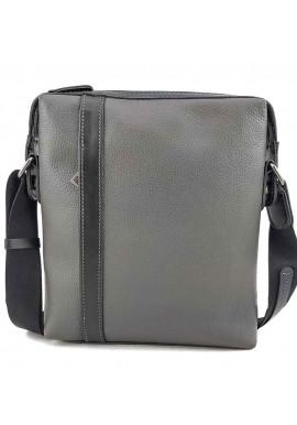 Фото Большая кожаная сумка на плечо серого цвета VATTO