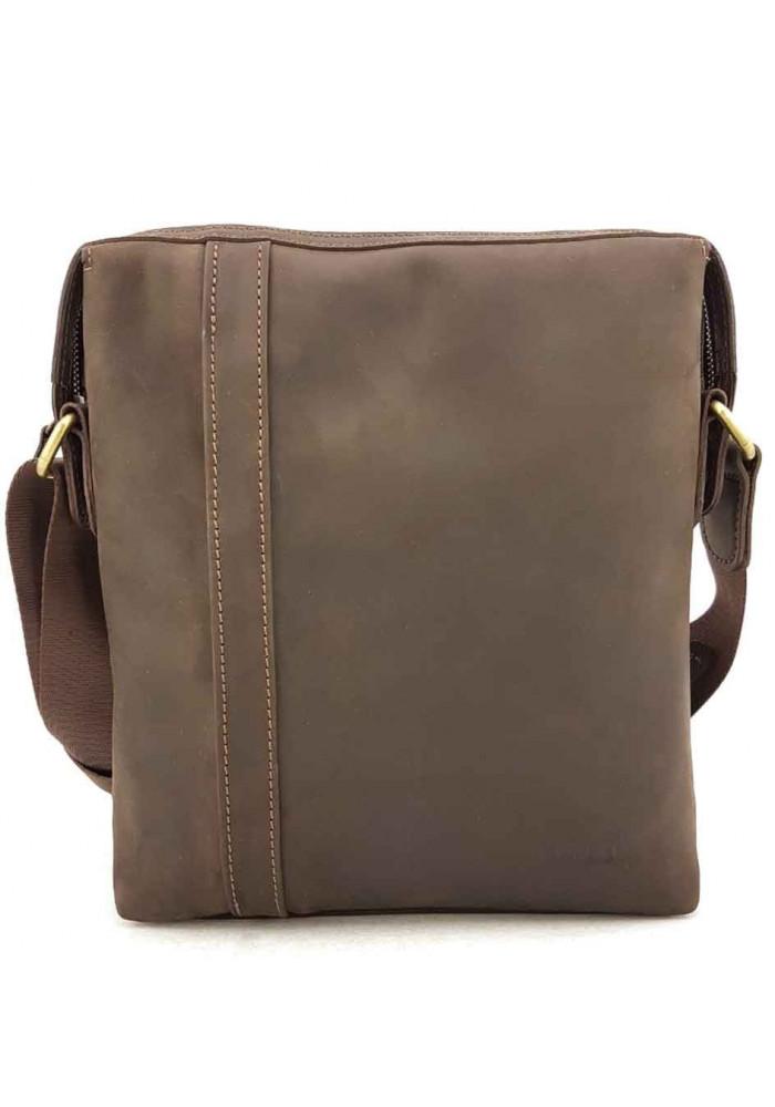Большая коричневая кожаная сумка на плечо VATTO