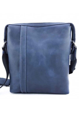 Фото Вместительная синяя кожаная сумка на плечо VATTO