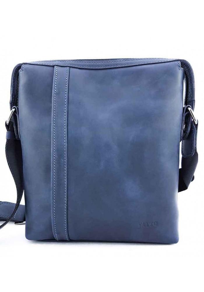 Вместительная синяя кожаная сумка на плечо VATTO