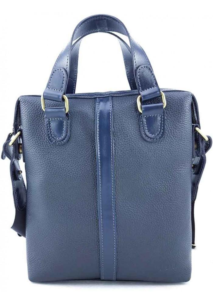 Мужская вертикальная сумка из кожи синего цвета VATTO