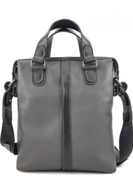 Фото Мужская вертикальная сумка из серой кожи VATTO