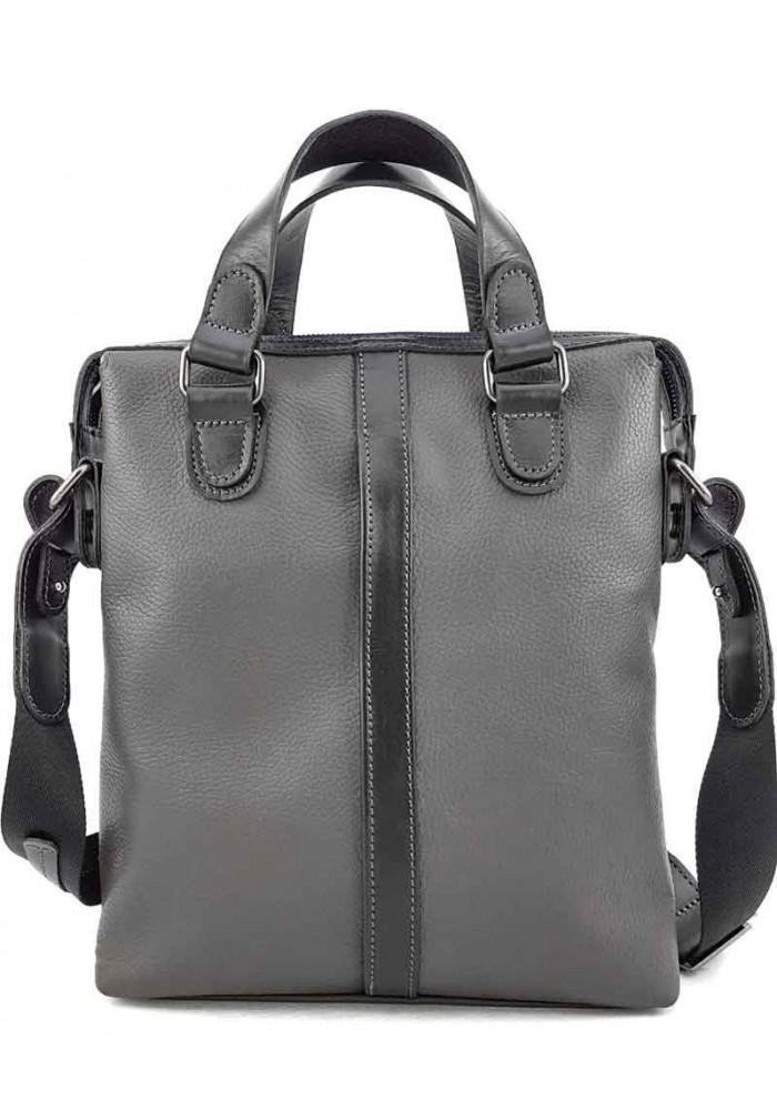 Мужская вертикальная сумка из серой кожи VATTO