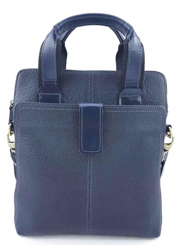 Стильная кожаная сумка для мужчины из синей кожи VATTO