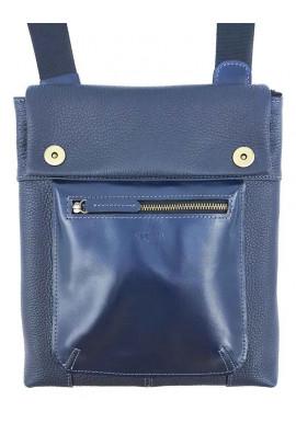 Фото Красивая мужская сумка через плечо из синей натуральной кожи VATTO