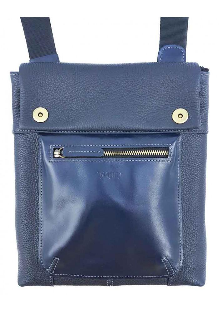 Красивая мужская сумка через плечо из синей натуральной кожи VATTO