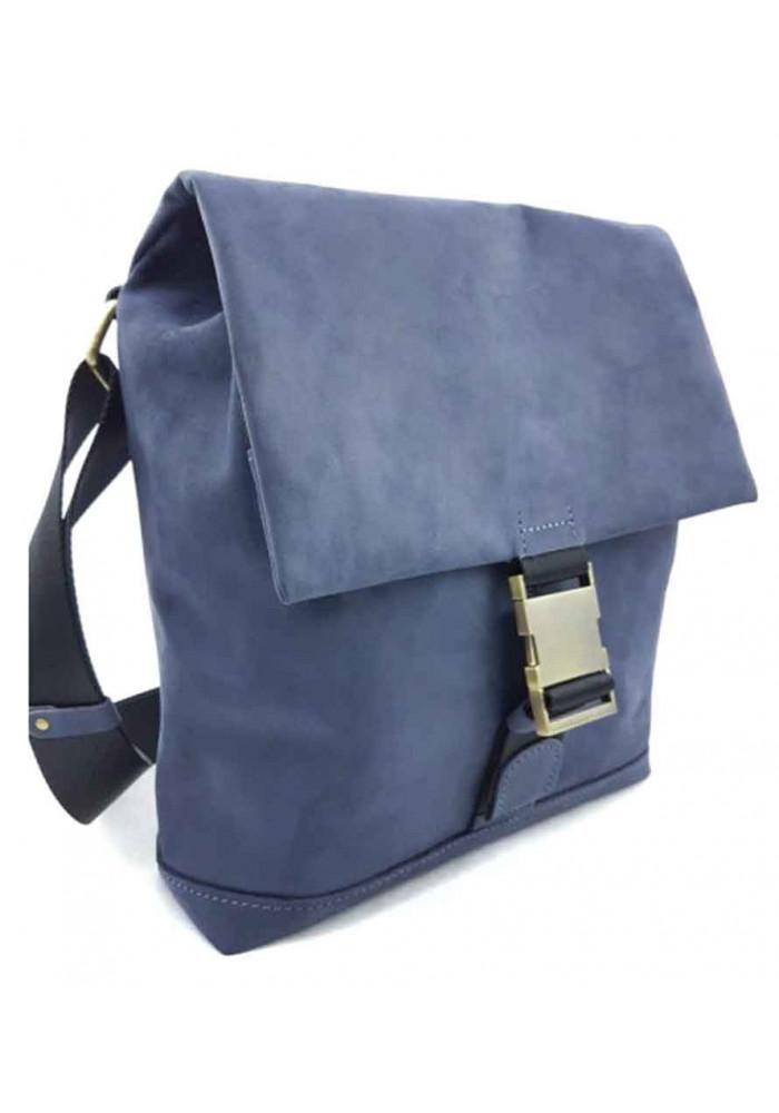 Мягкая кожаная сумка через печо VATTO синяя