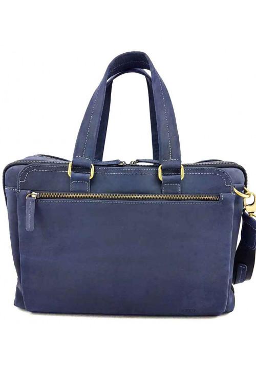 Синяя кожаная мужская сумка для багажа VATTO