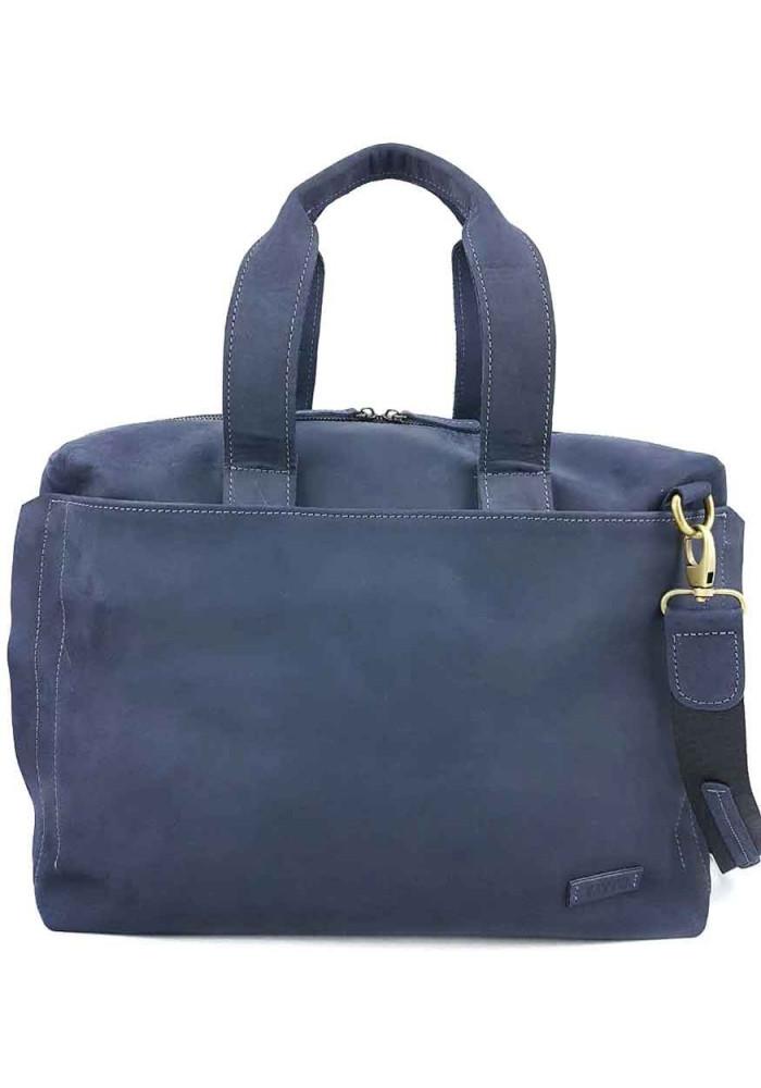 Фирменная мужская сумка Vatto из синей гладкой кожи