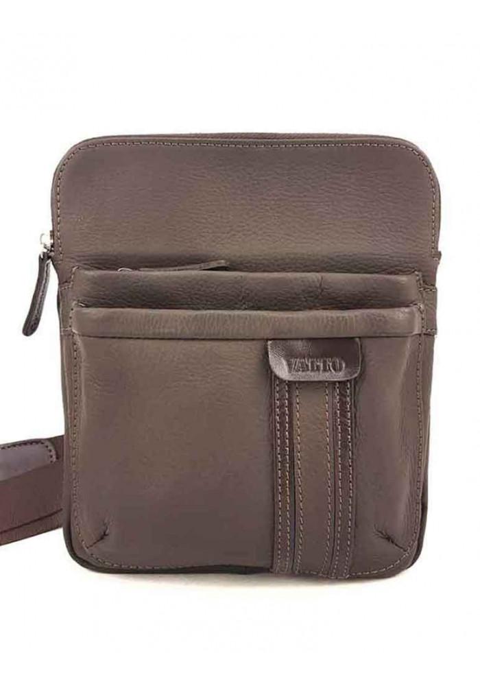 Компактная мужская сумочка на плечо VATTO коричневая матовая