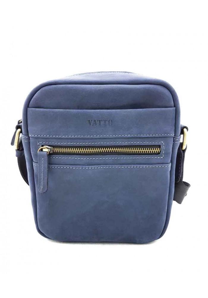 Синяя сумка на плечо мужская кожаная Vatto с ручкой