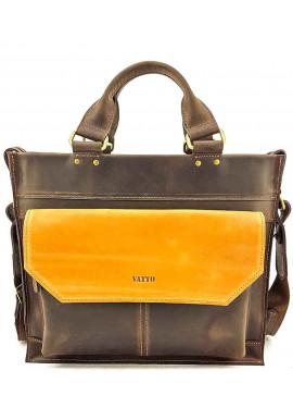 Фото Яркий кожаный портфель для мужчины VATTO коричневый