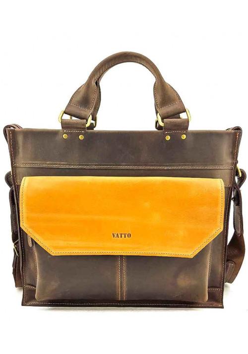 Яркий кожаный портфель для мужчины VATTO коричневый