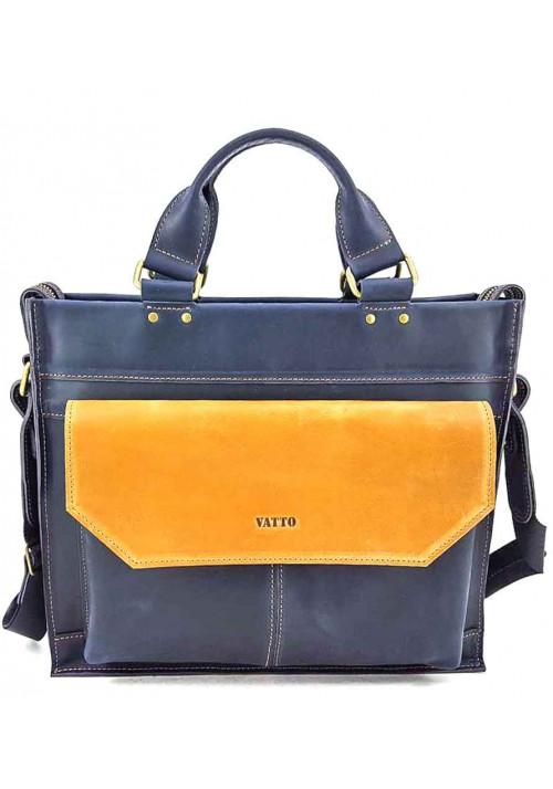 Сине-желтый кожаный портфель VATTO