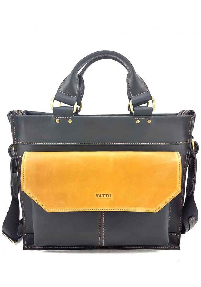 Черно-желтый мужской портфель из кожи VATTO