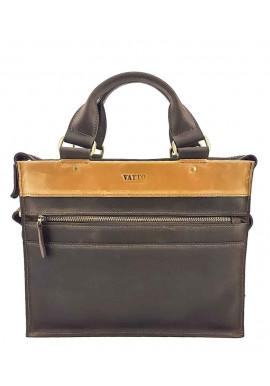 Фото Маленький кожаный мужской портфель VATTO коричневый