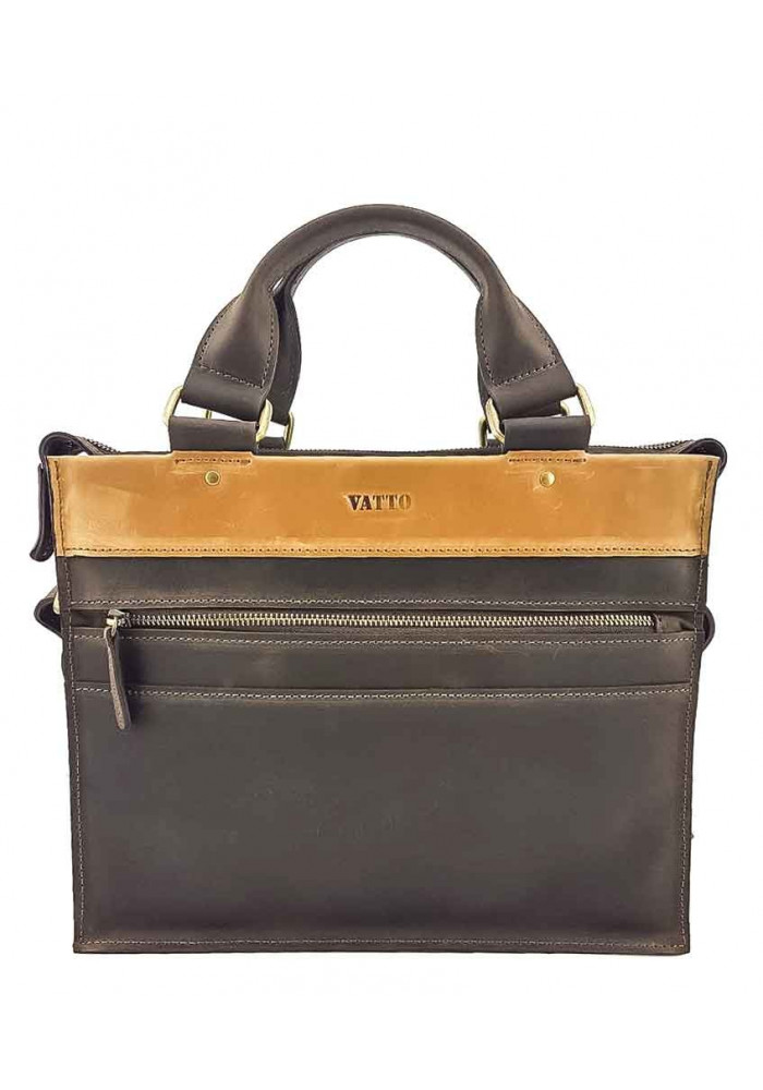 Маленький кожаный мужской портфель VATTO коричневый