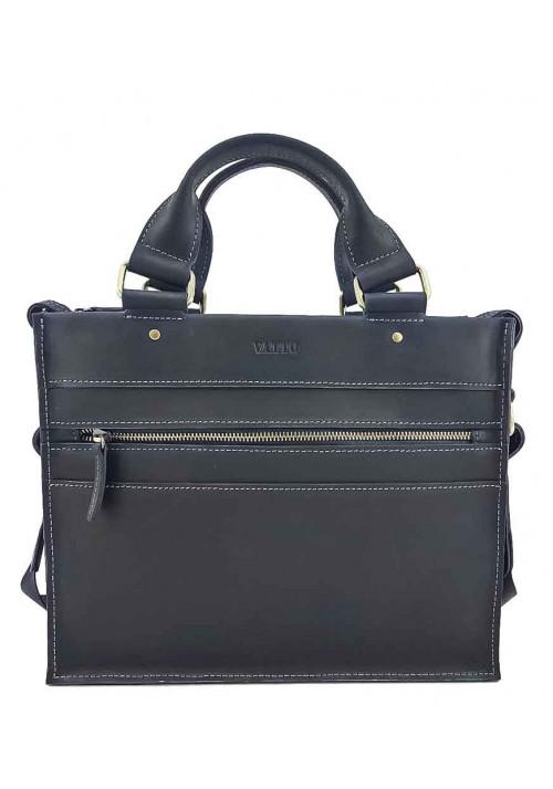 Черный мужской мини-портфель из кожи VATTO