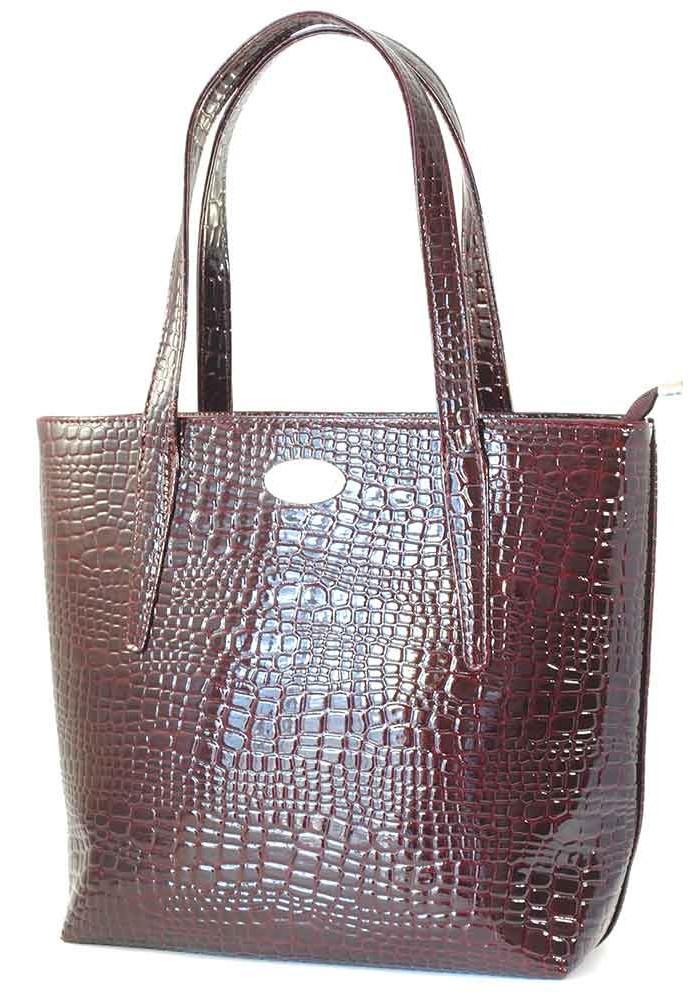 Лаковая бордовая большая женская сумка Betty Pretty