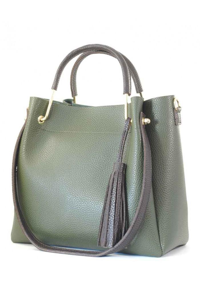 Зеленая женская сумка Betty Pretty с коричневыми ручками