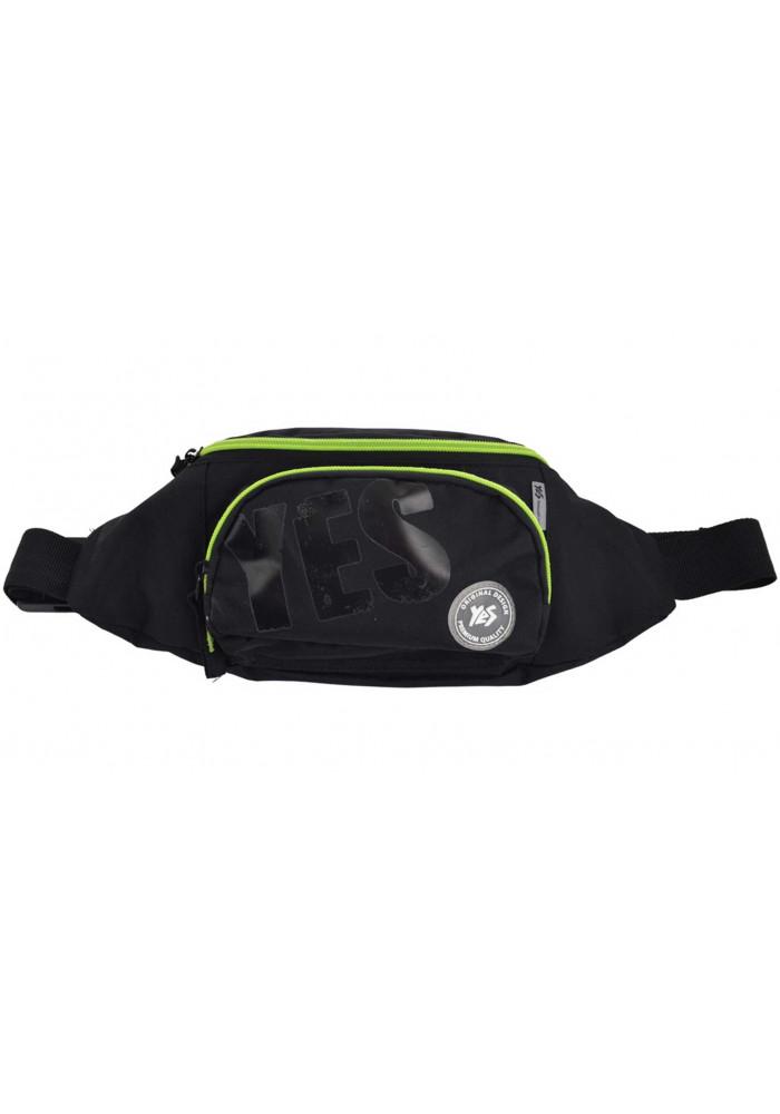 Черная поясная сумка из ткани YES SP-12 Black