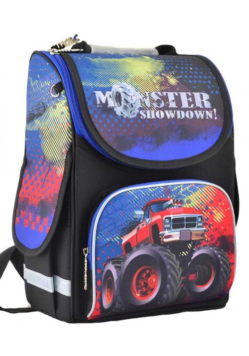 Черный школьный ранец с джипом SMART PG-11 Monster Showdown