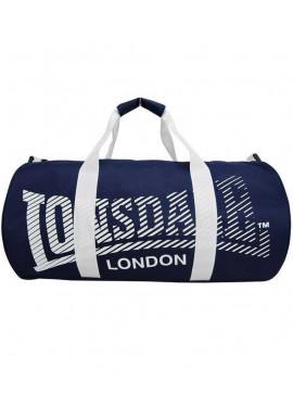 Фото Синяя спортивная сумка с белыми ручками LONSDALE BARREL BAG 2.0 BLUE WHITE