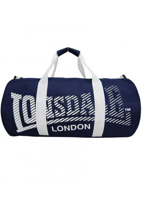 Синяя спортивная сумка с белыми ручками LONSDALE BARREL BAG 2.0 BLUE WHITE
