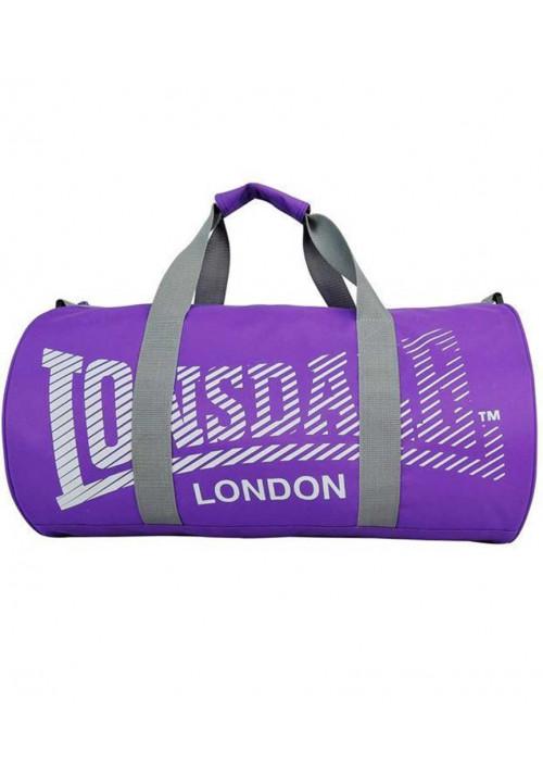 Фиолетовая сумка для спорта LONSDALE BARREL BAG 2.0 PURPLE GREY