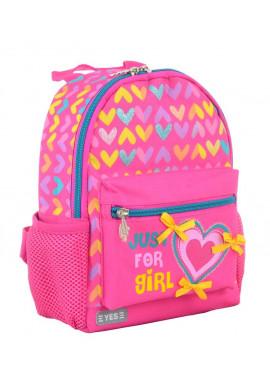 Розовый дошкольный рюкзак YES K-16 Hearts