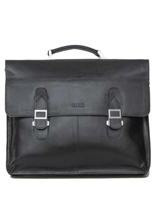 Портфель кожаный черный глянцевый Ватто Mk24