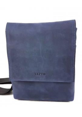 Фото Синяя мужская кожаная сумка с большим клапаном Ватто Mk13.12